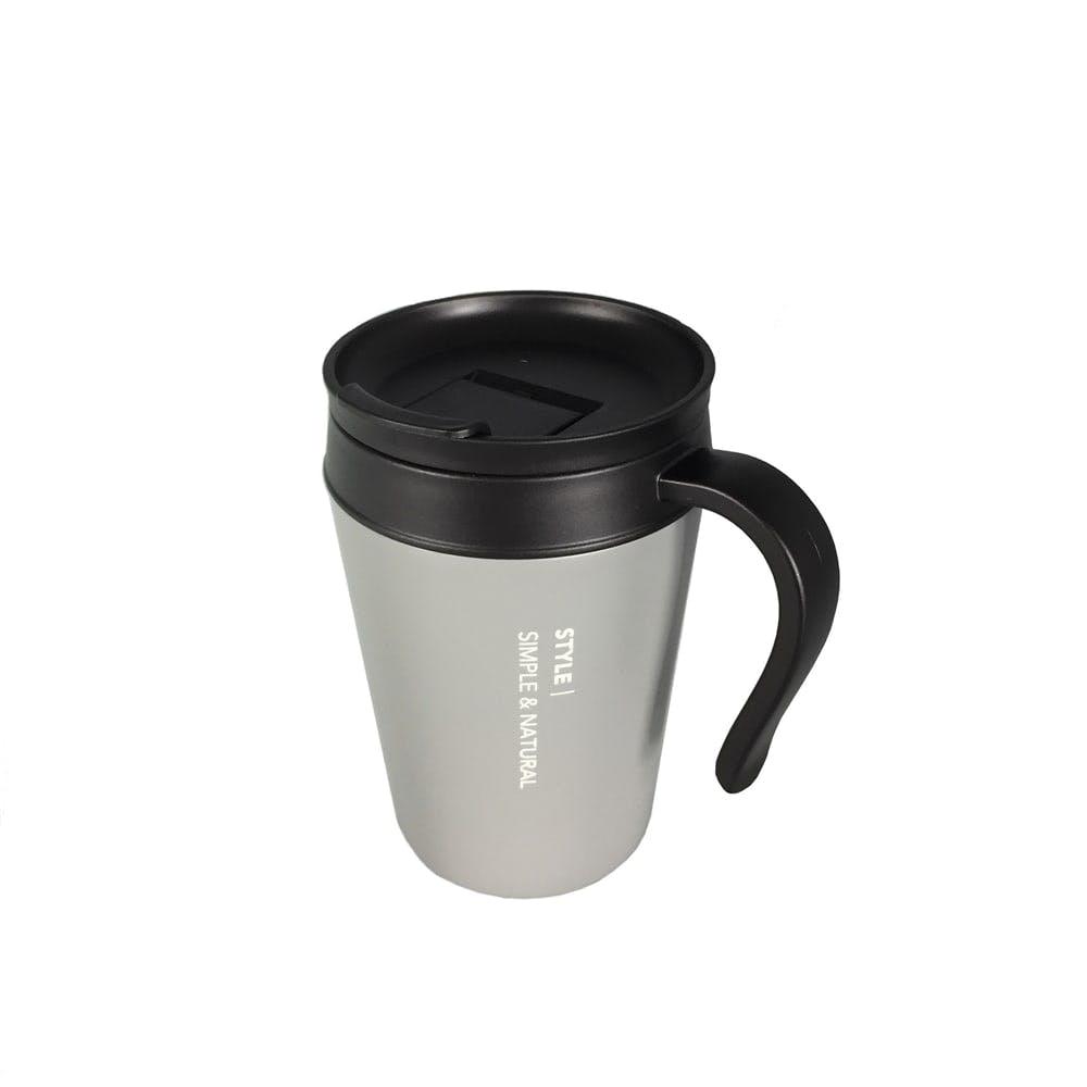 飲み易い真空蓋付マグカップ 400ml グレー, , product