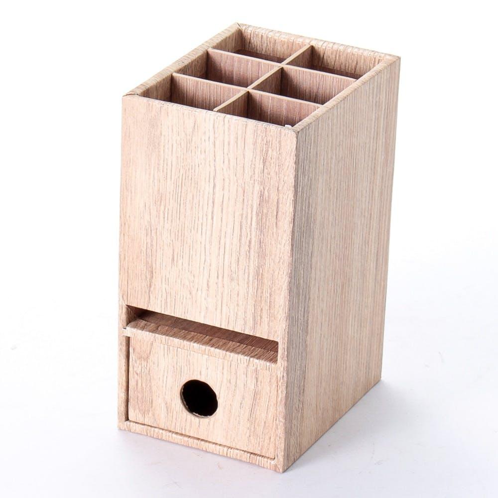 木目調 引き出し付きペン立て ナチュラル, , product