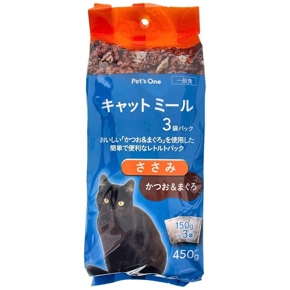 Pet'sOne キャットミールパウチ かつお&まぐろ ささみ入り 150g 3袋パック, , product