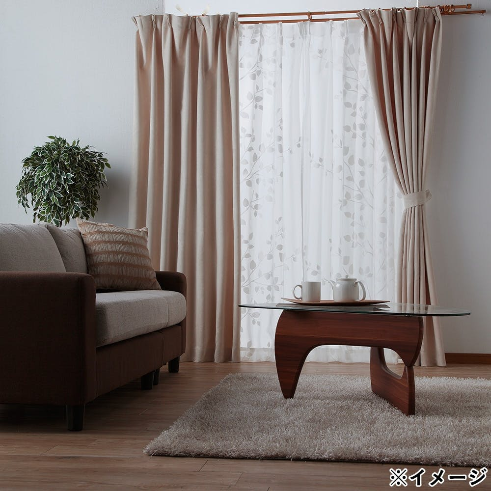 ボイル リーフィ― ホワイト 100×198cm 2枚組 レースカーテン, , product