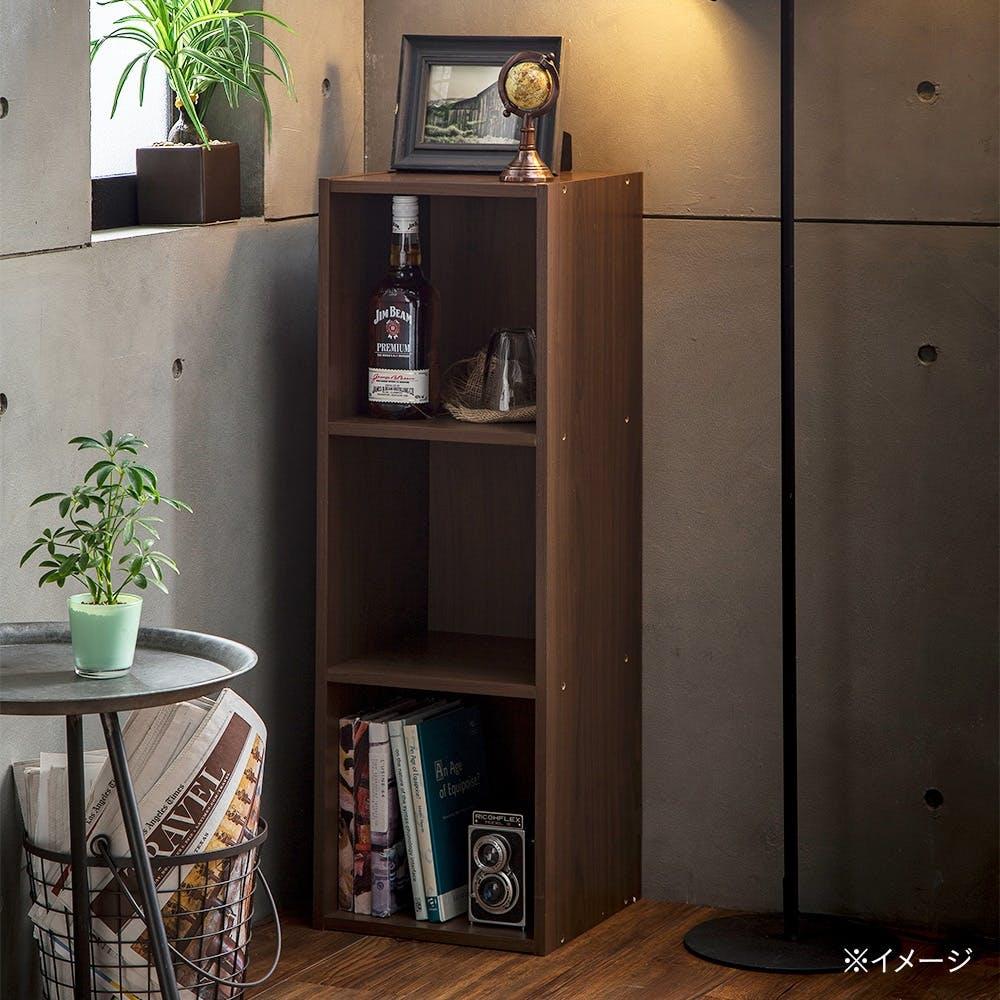 カラーボックス S12 スリム収納ボックス3段 ブラウン, , product