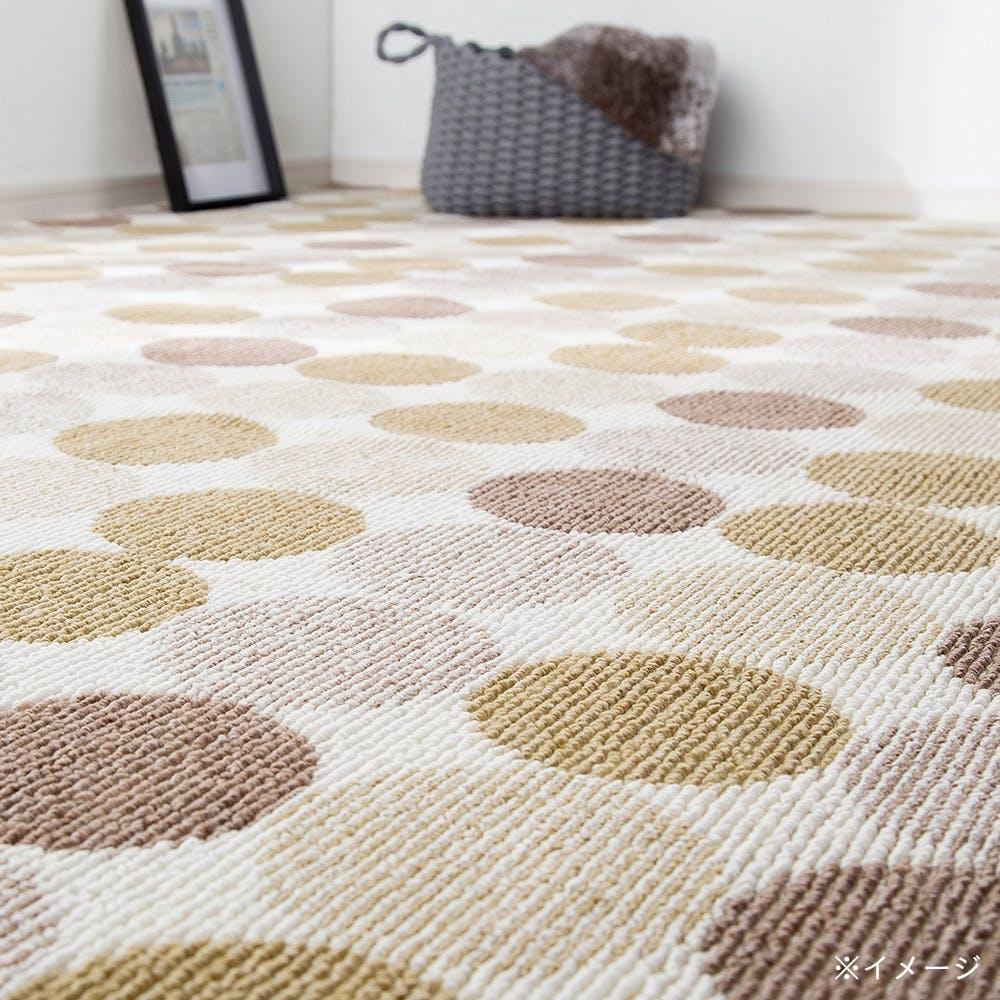 【店舗限定】デザイン平織りカーペット サークル アイボリー 2畳, , product