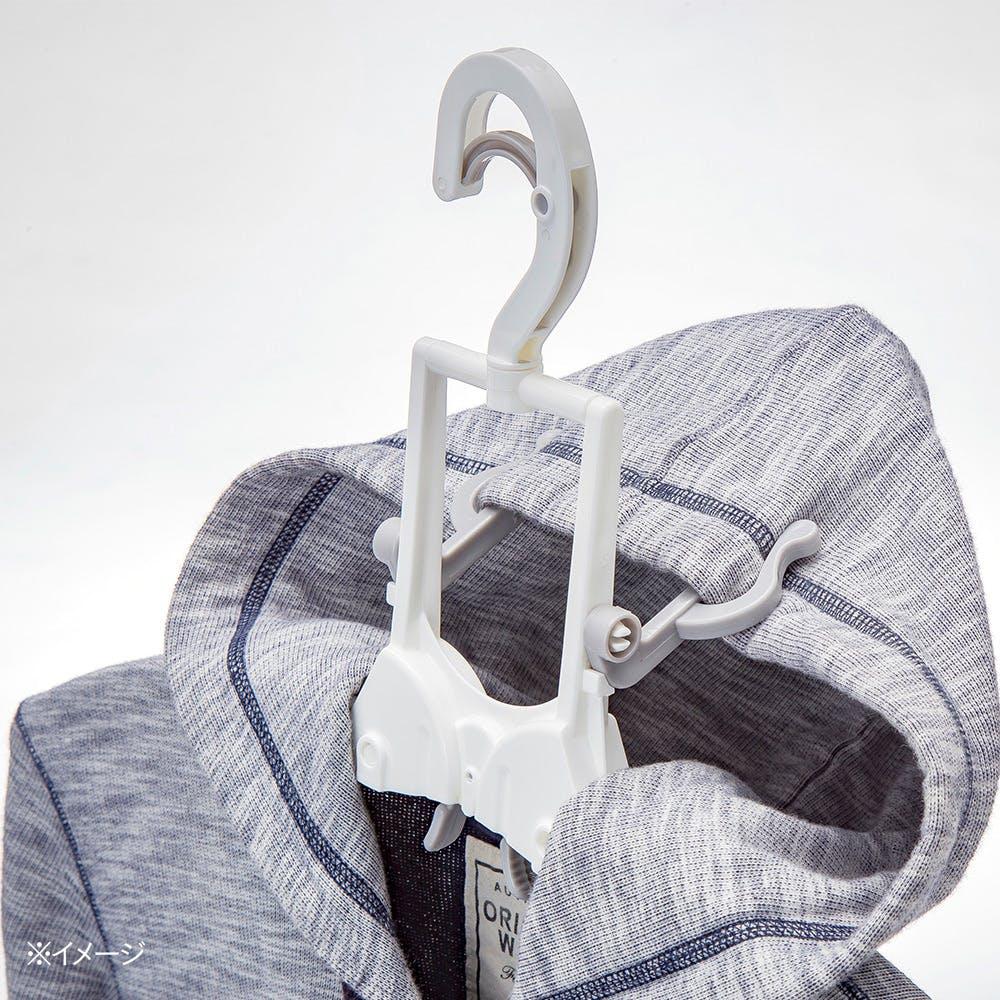 フード付き衣類が乾きやすいハンガー ホワイト, , product