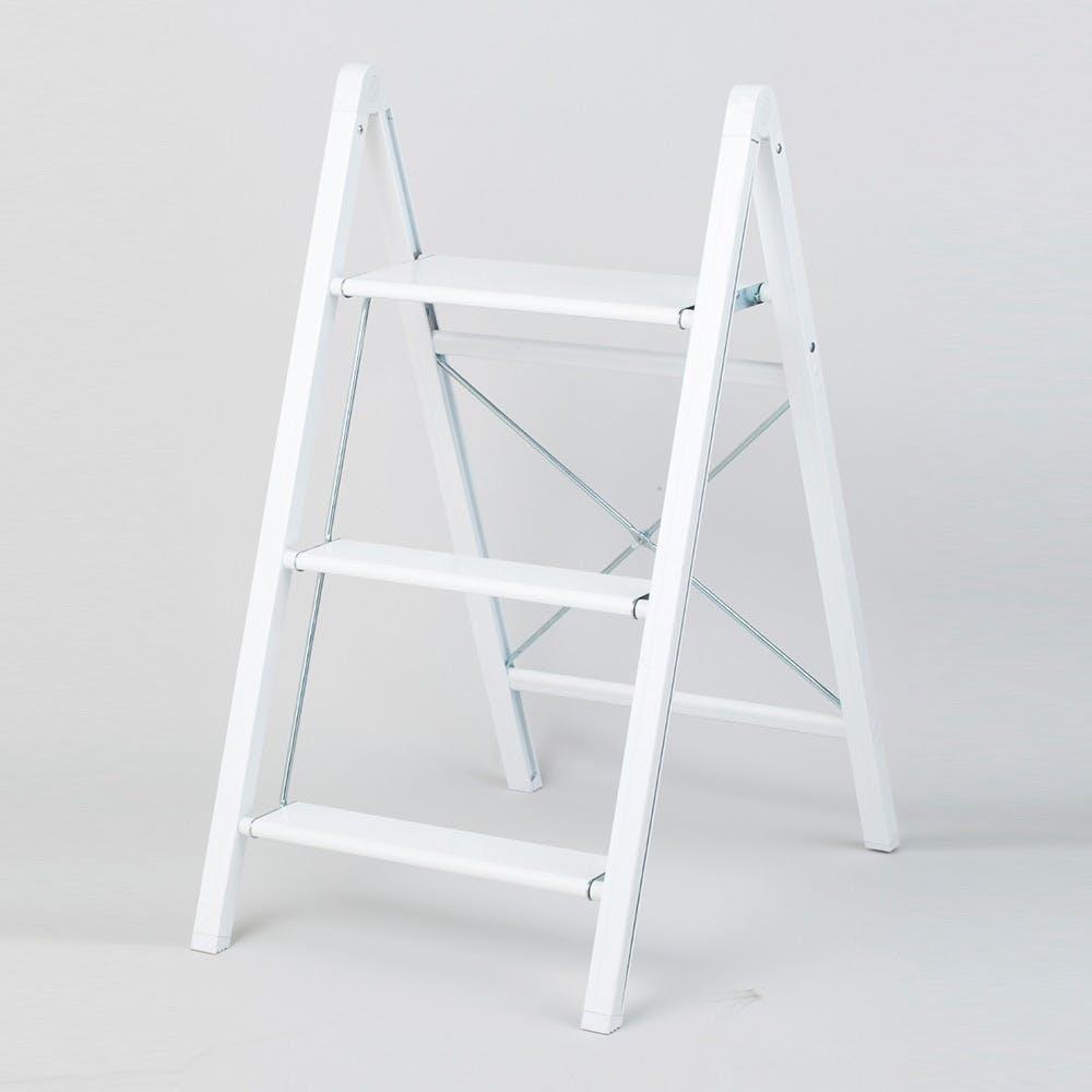 スリム アルミ踏み台 3段 ホワイト, , product