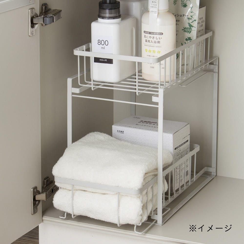 引き出し式洗面下収納ラック 2段, , product