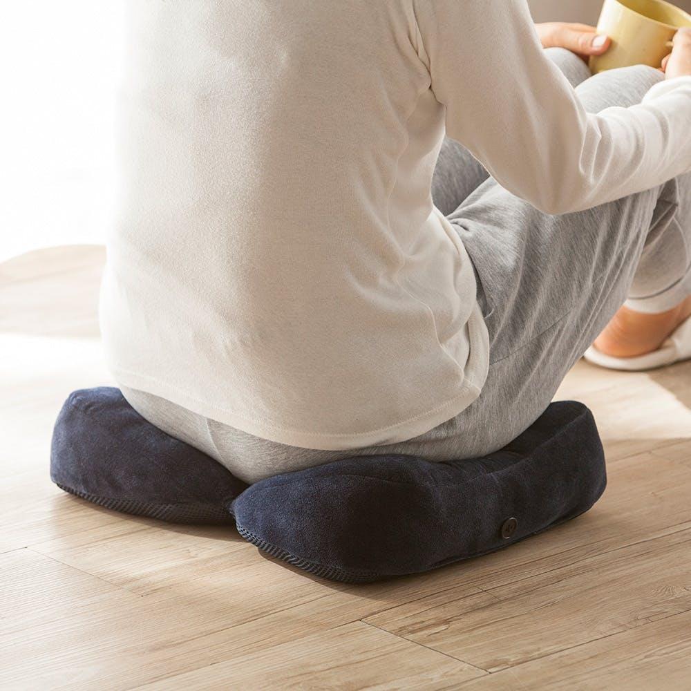 脚やお尻の負担を軽減するクッション ネイビー, , product