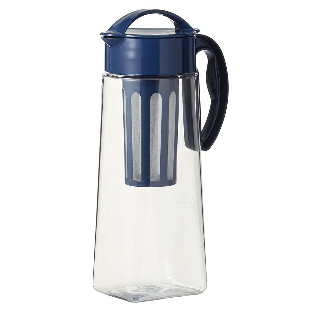 茶こし付き 縦にも横にも置ける冷水筒 2.1L ネイビー, , product