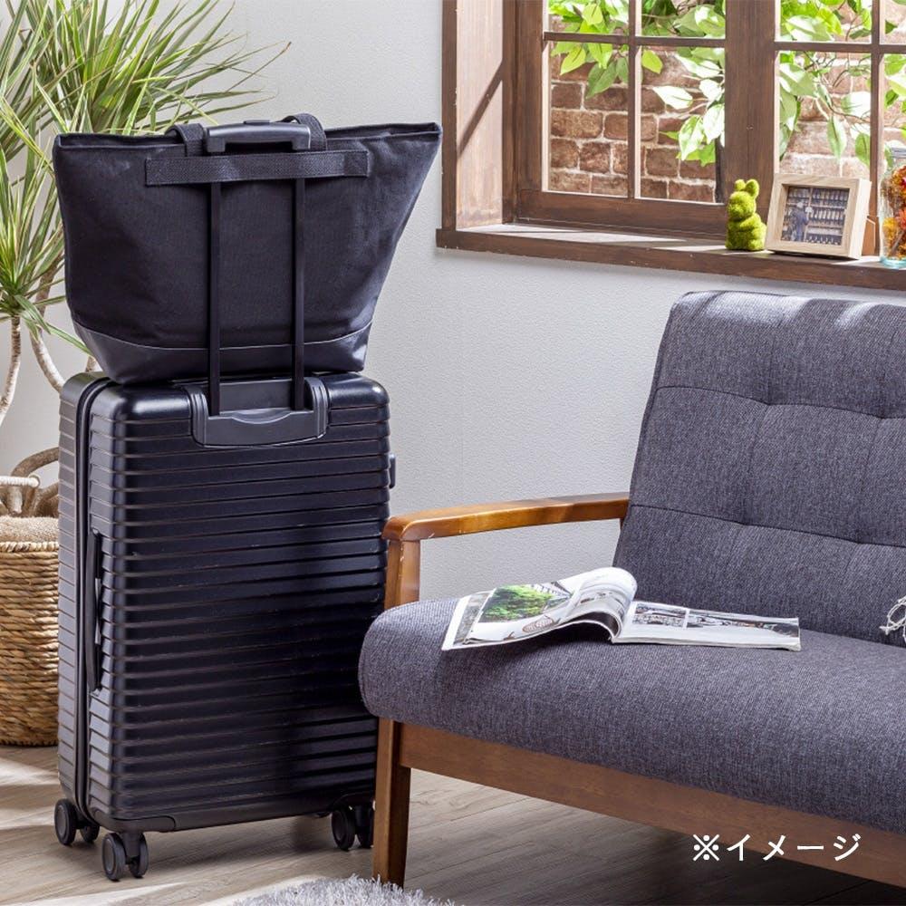 キャリーバー対応 ファスナー付トートバッグ ブラック, , product