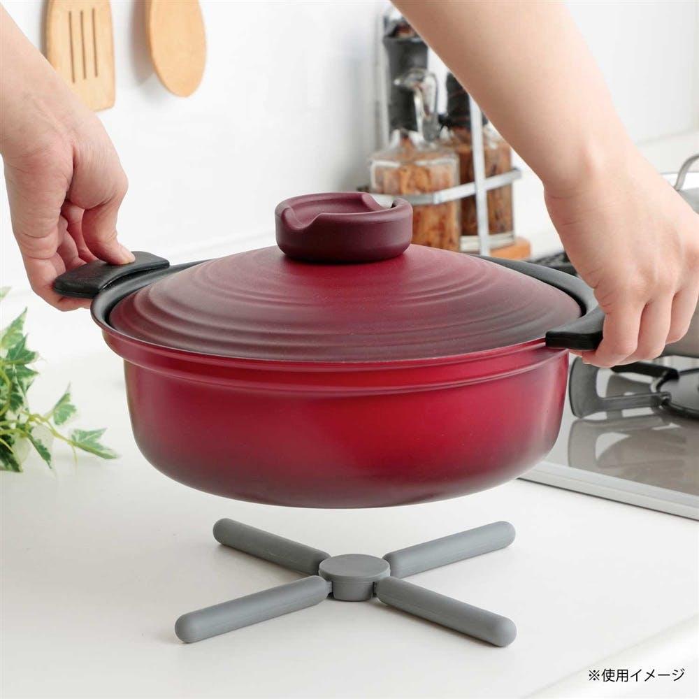 折りたたみできる鍋敷き グレー, , product