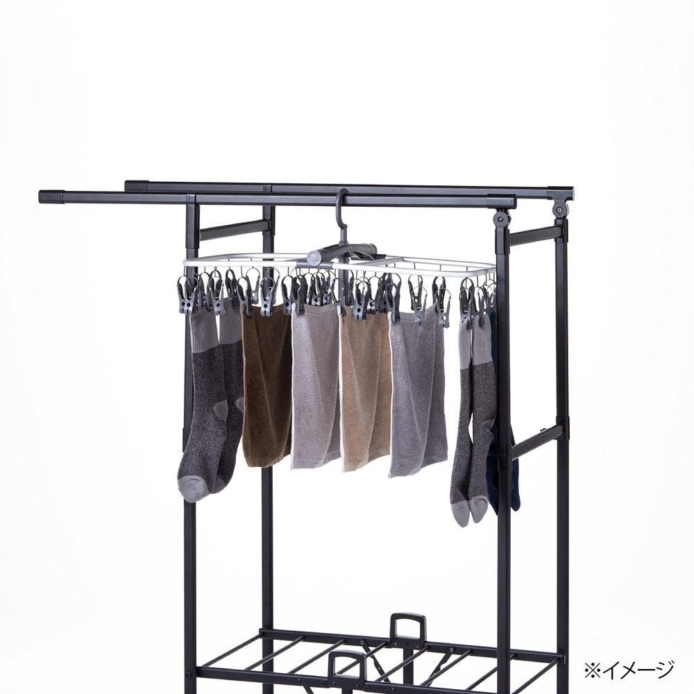 ロング丈も掛けられる折りたたみランドリーラックパタラン ミニ ブラック, , product