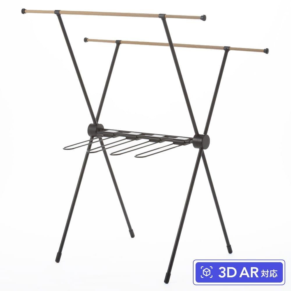 乾きやすい木目調室内物干しX型 ブラック, , product