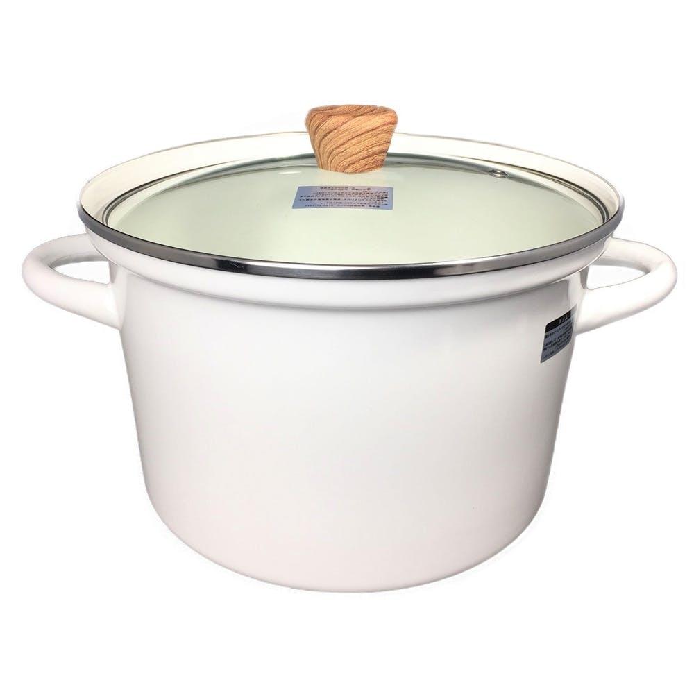 ふきこぼれにくいホーロー両手鍋 22cm ホワイト, , product