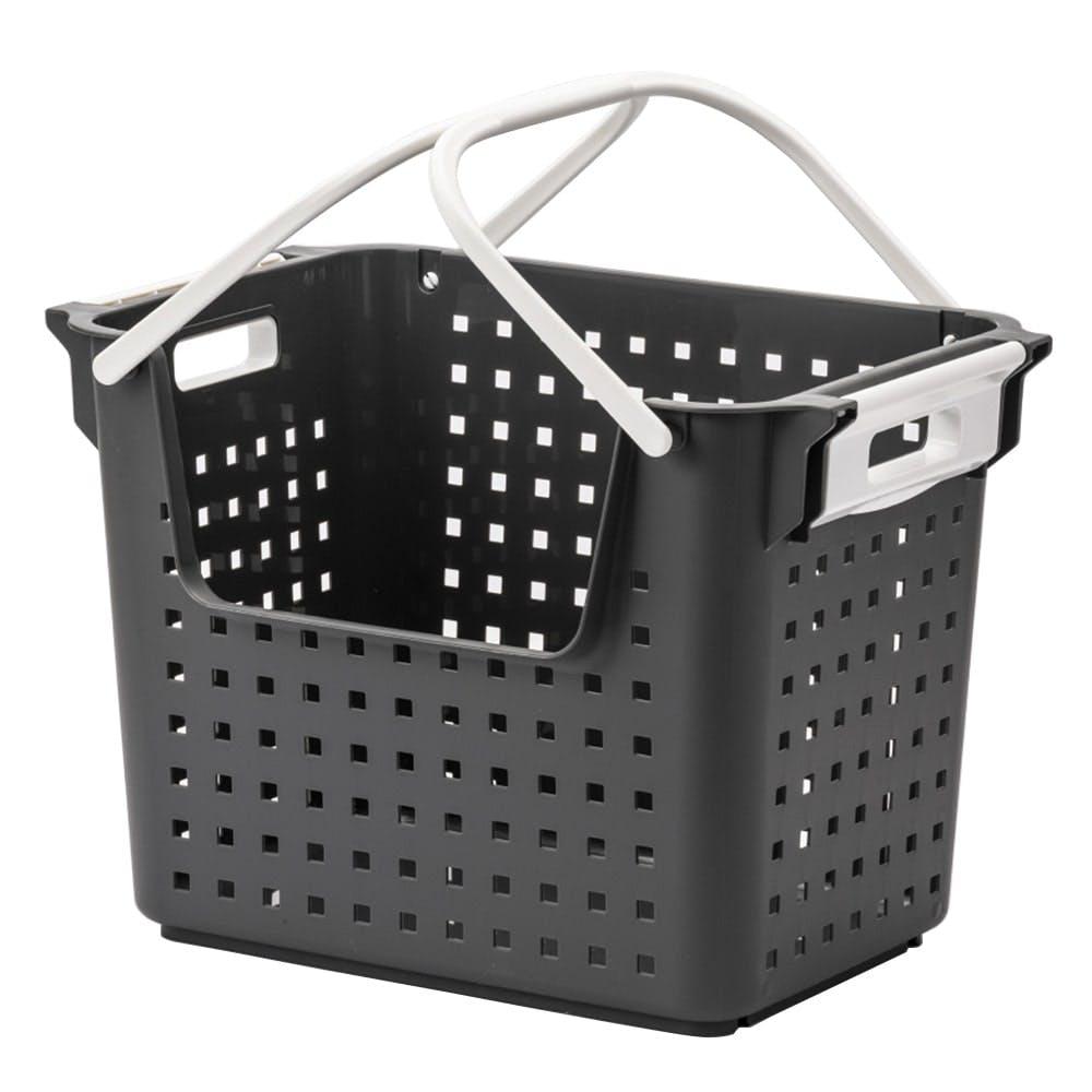 積み重ねても出し入れできるバスケット グレー, , product
