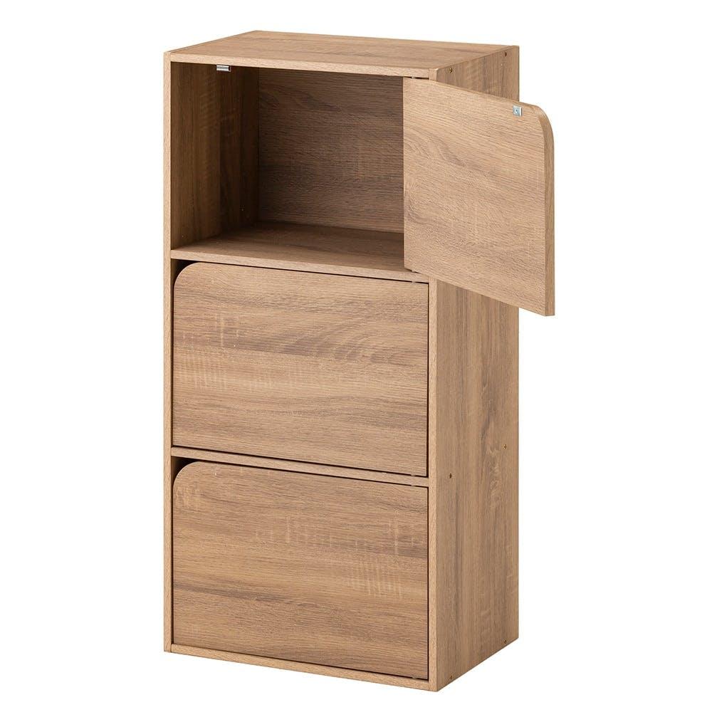 ドア付き 収納ボックス 3段 ナチュラルエルム, , product