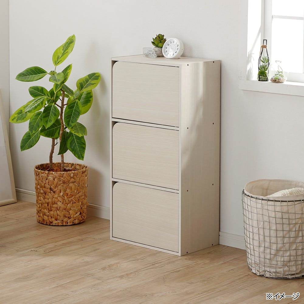 ドア付き 収納ボックス 3段 ホワイト, , product