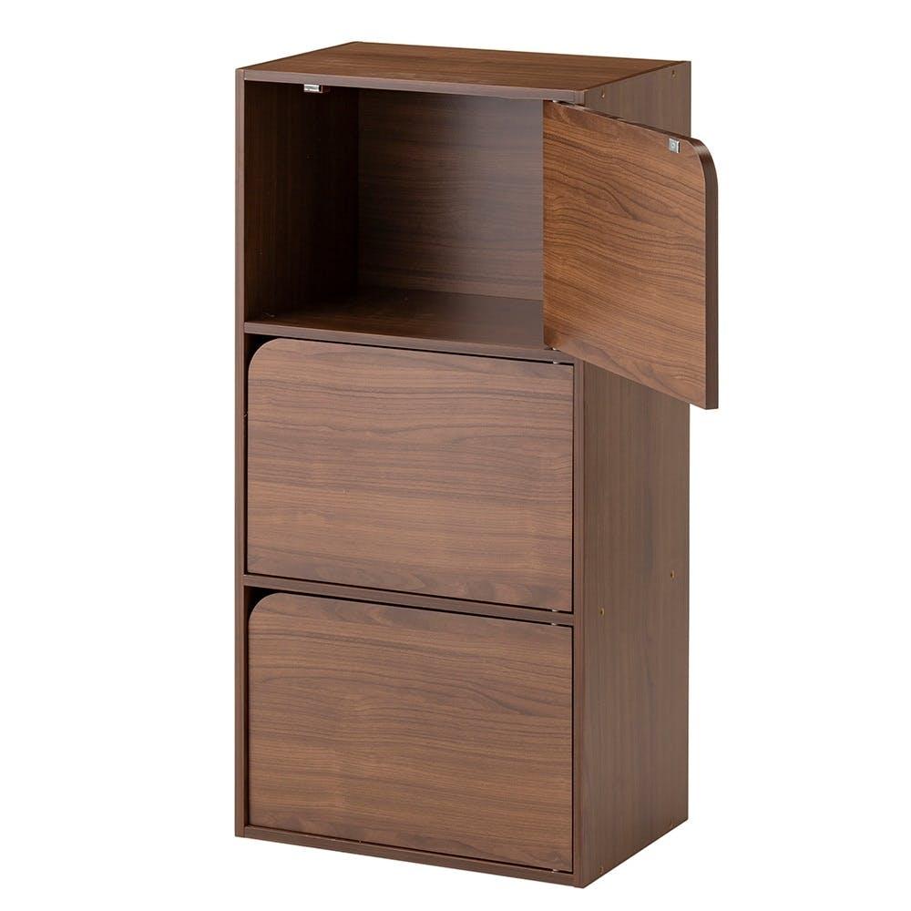 ドア付き 収納ボックス 3段 ブラウン, , product