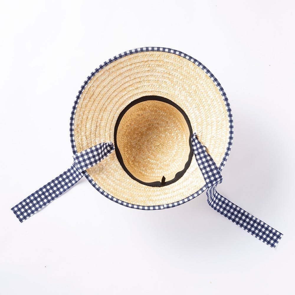 婦人麦わら帽子(消臭糸使用)ハマグリ ネイビーチェック, , product