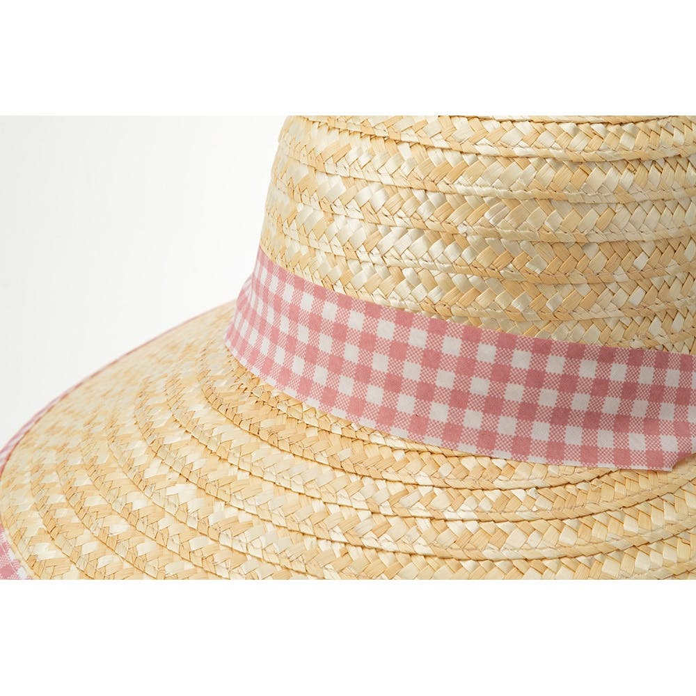 婦人麦わら帽子(消臭糸使用)ハマグリ ピンクチェック, , product