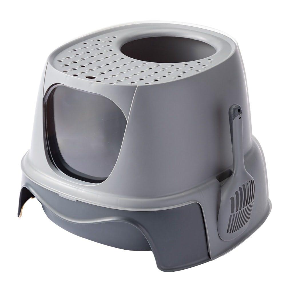 Pet'sOne キャットトイレ 上から出られるフード付き グレー, , product