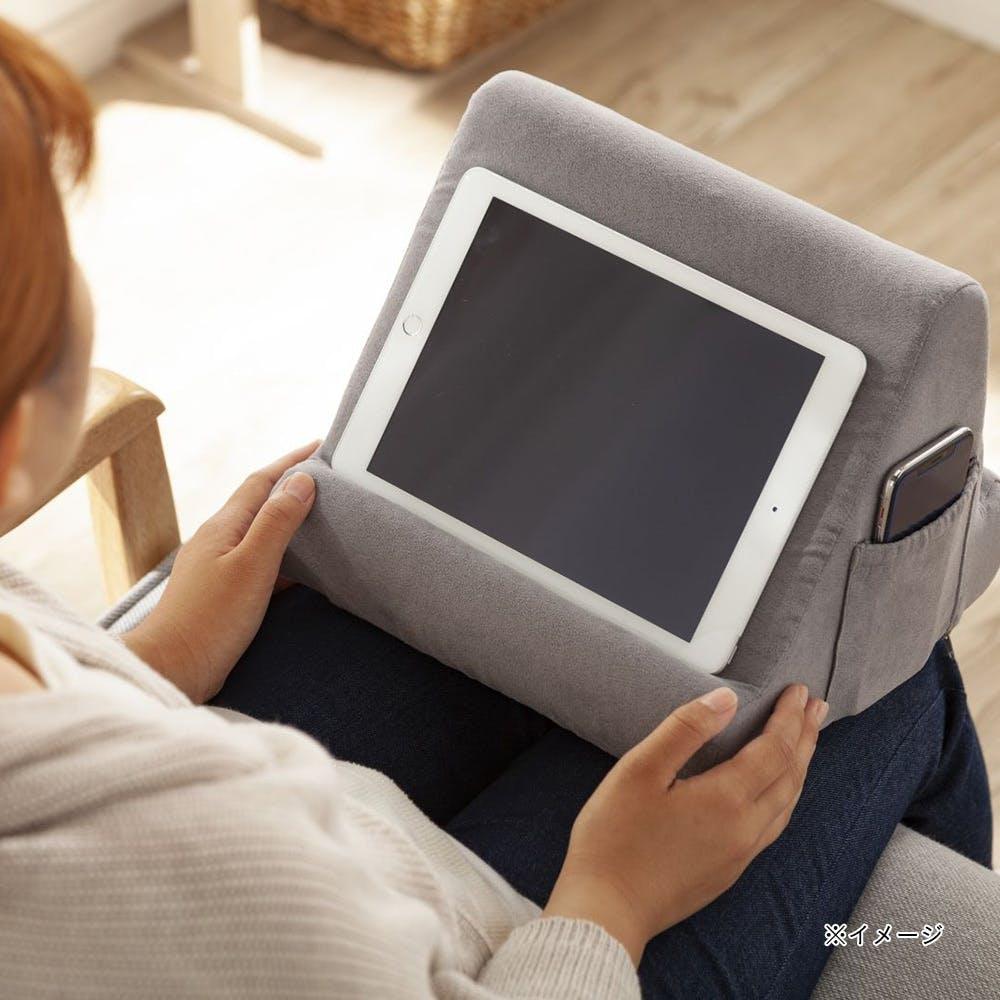 タブレットスタンドクッション グレー  28×27×22cm, , product