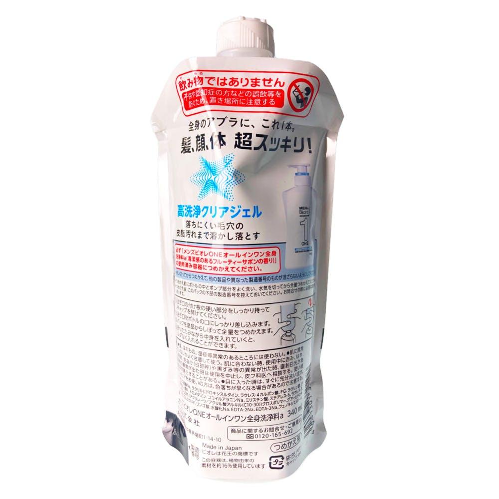 花王 メンズビオレ ONE オールインワン全身洗浄料 フレッシュフルーティーサボン 詰替 340ml, , product