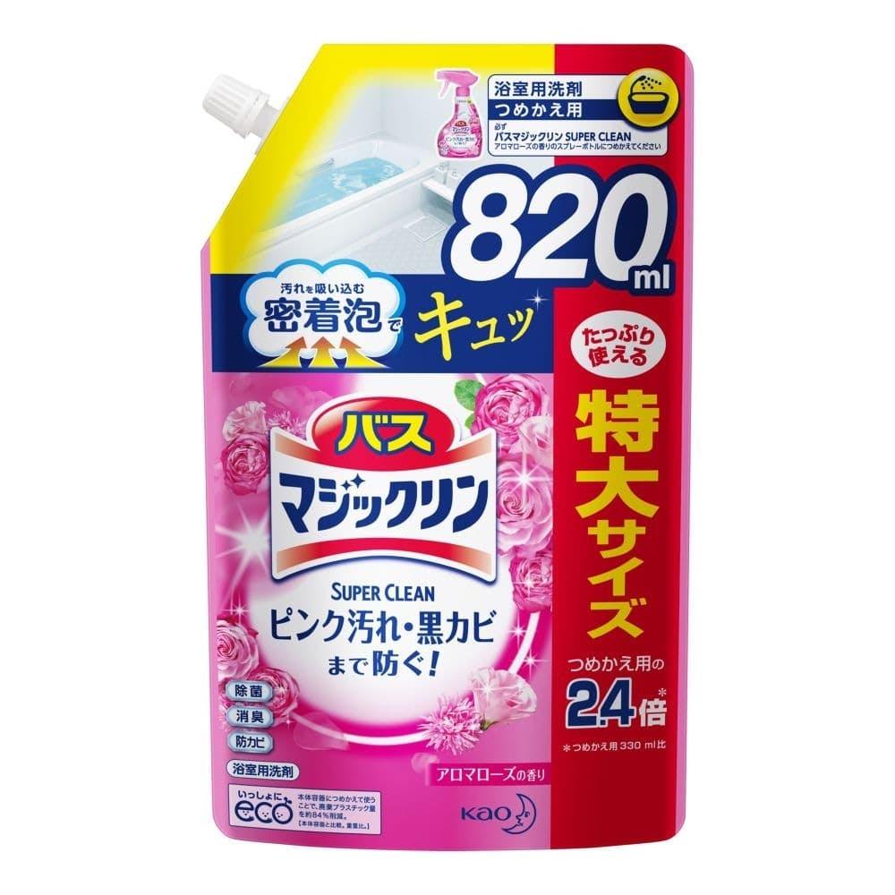 花王 バスマジックリン 泡立ちスプレー SUPER CLEAN アロマローズの香り 詰替 820ml, , product
