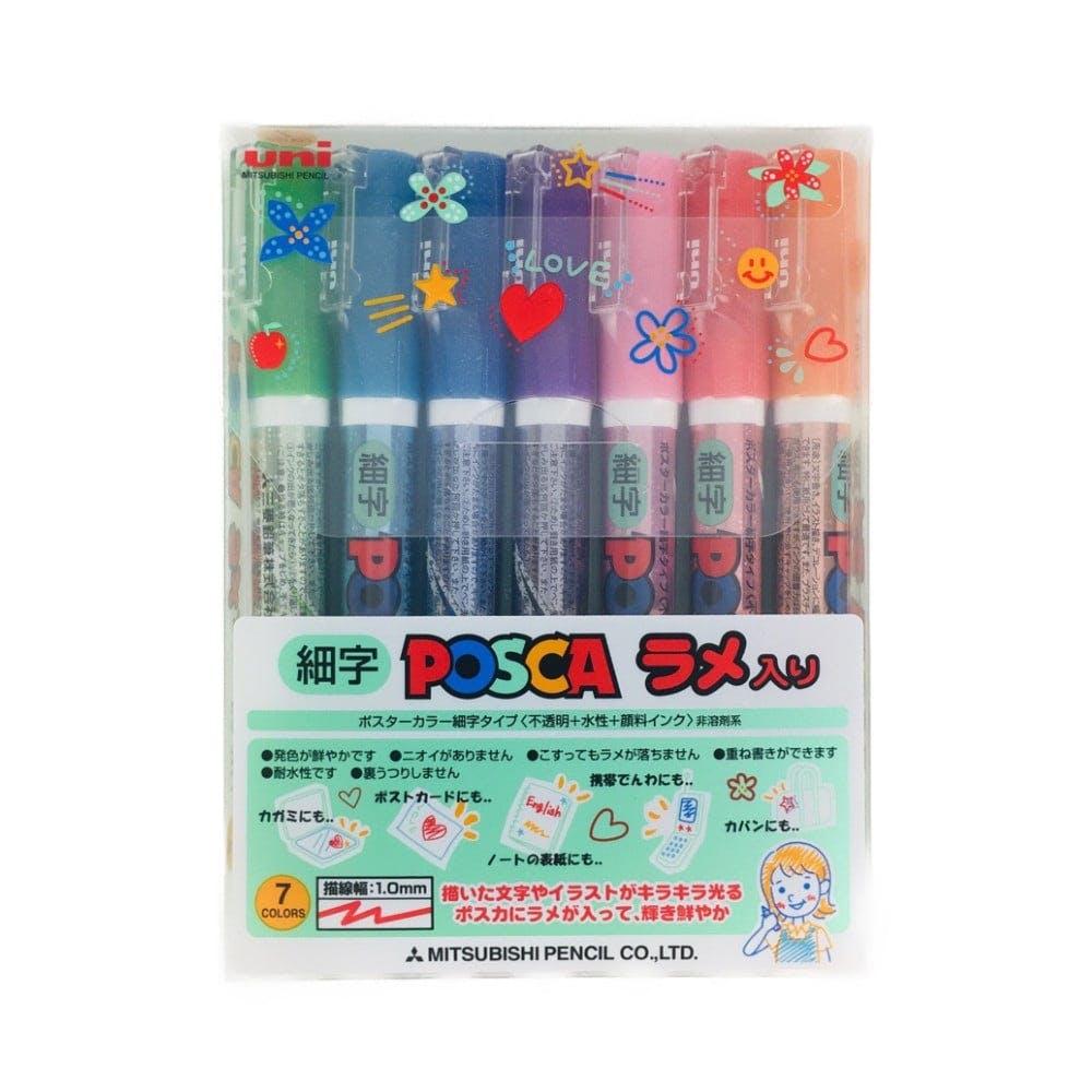 三菱 uni ポスカ ラメ入り 細字 7色, , product