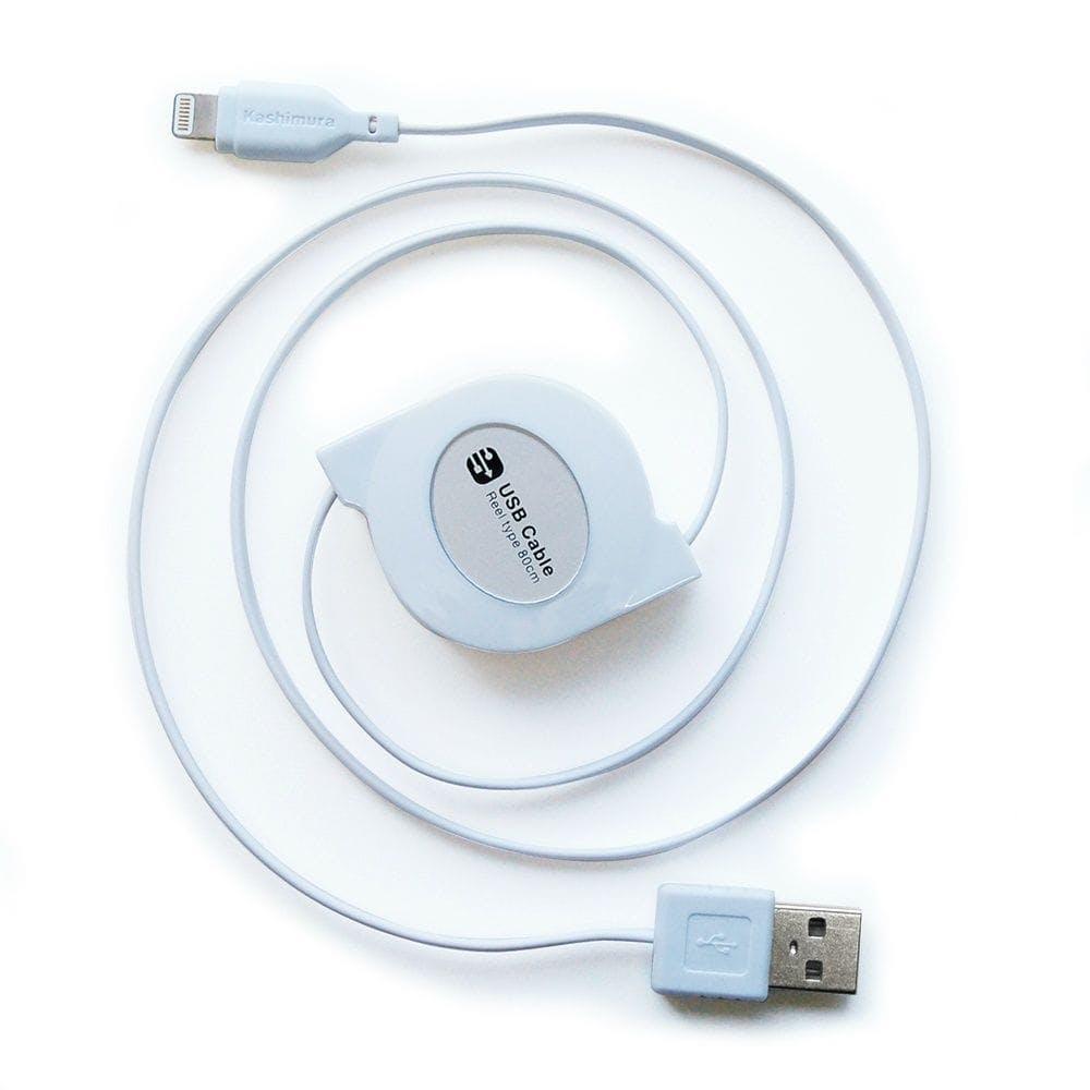 カシムラ USB充電&同期ケーブル リール 80cm LN WH KL-31, , product
