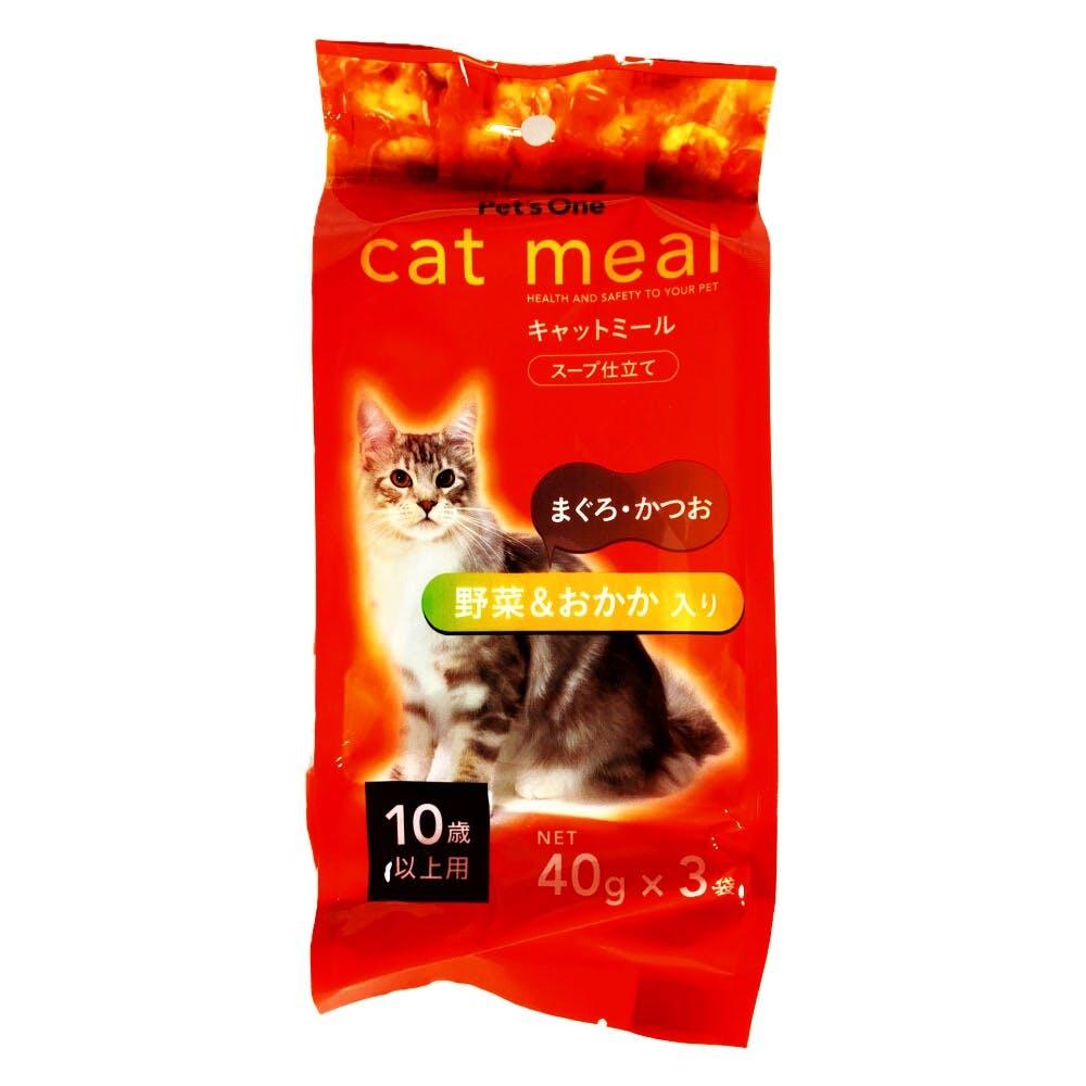 Pet'sOne キャットミール スープ仕立て まぐろ・かつお 野菜&おかか入り 10歳以上用 40g 3袋入り, , product
