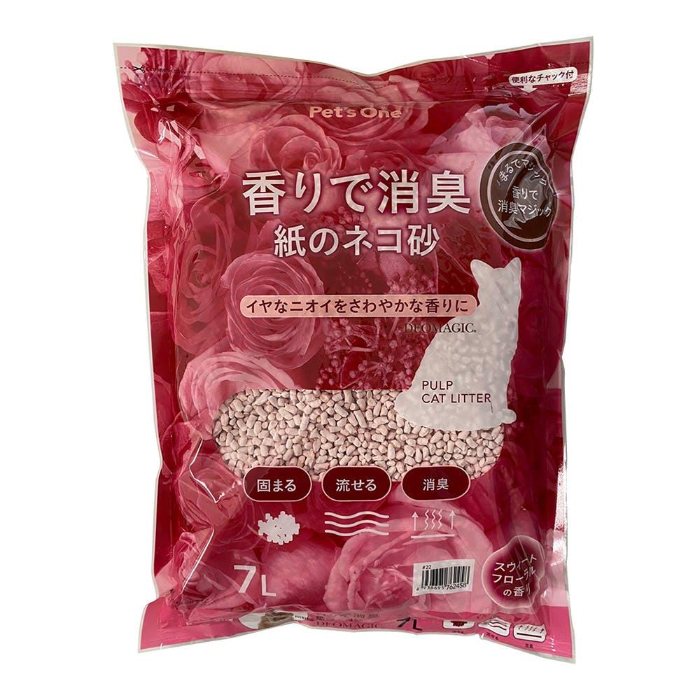 猫砂 デオマジック 香りで消臭 紙のネコ砂 スウィートフローラルの香り 7L(1Lあたり 約71.2円), , product