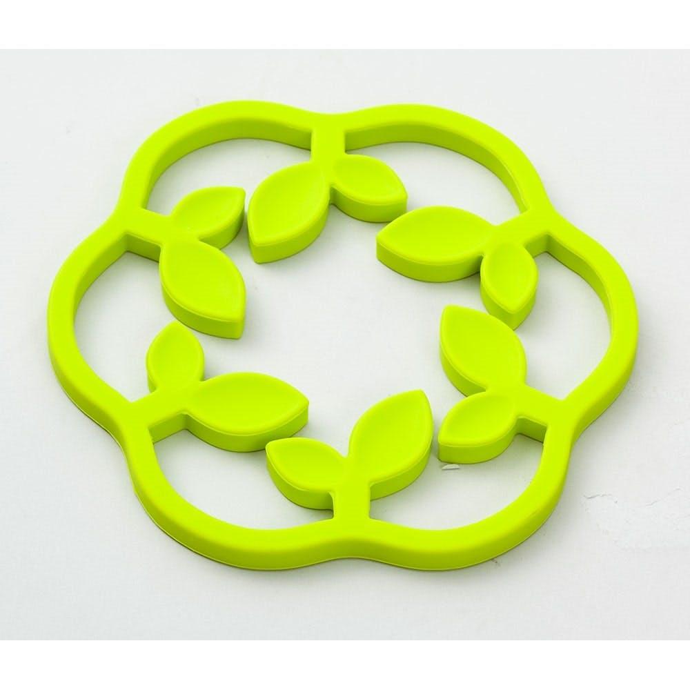 二つのサイズで使えるシリコン鍋敷き リーフ グリーン, , product