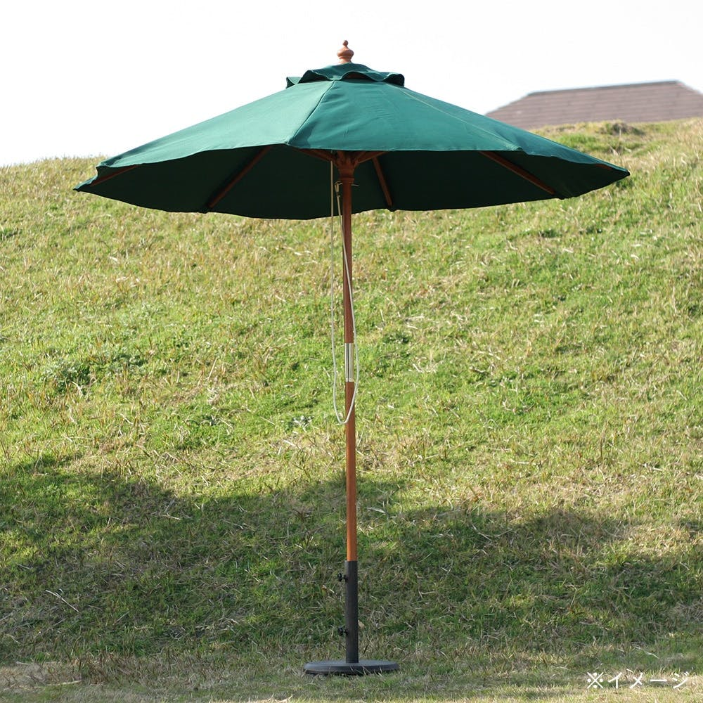 木製パラソル 210cm グリーン【別送品】, , product