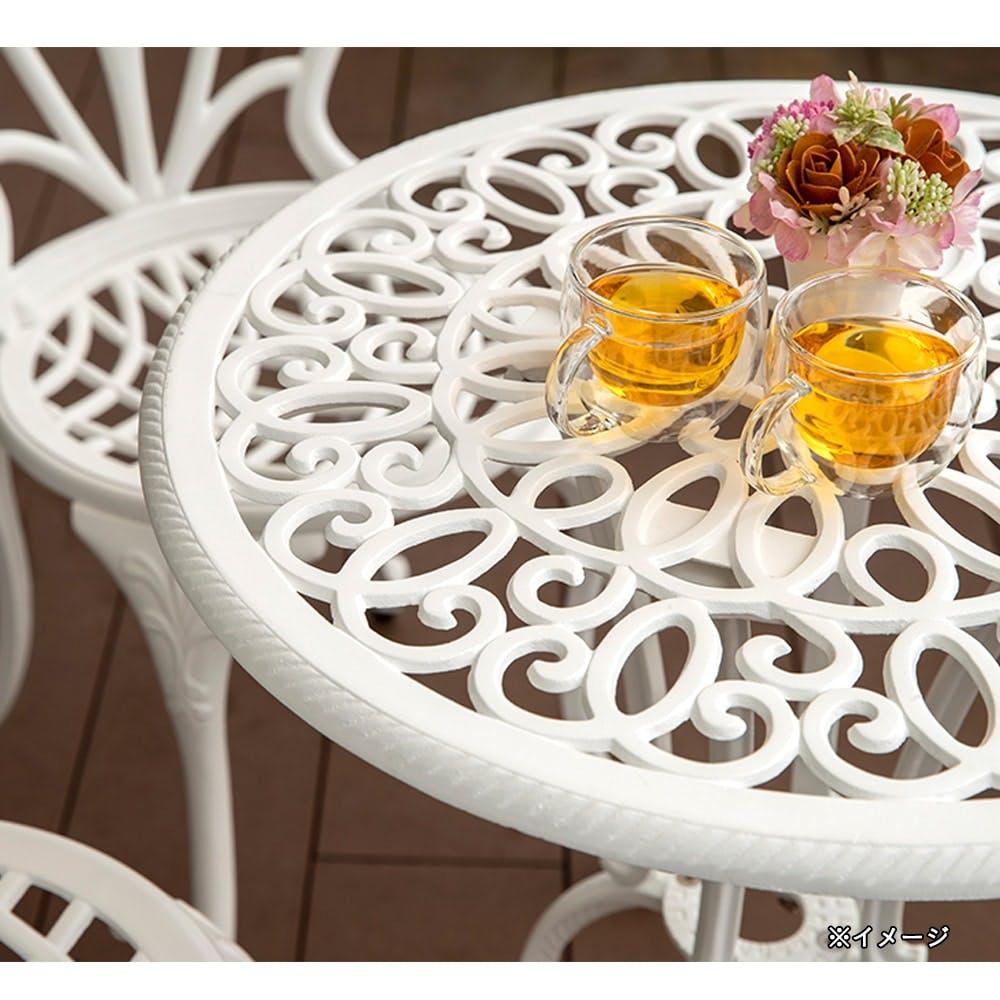 フロールカフェテーブル3点セット ホワイト【別送品】, , product