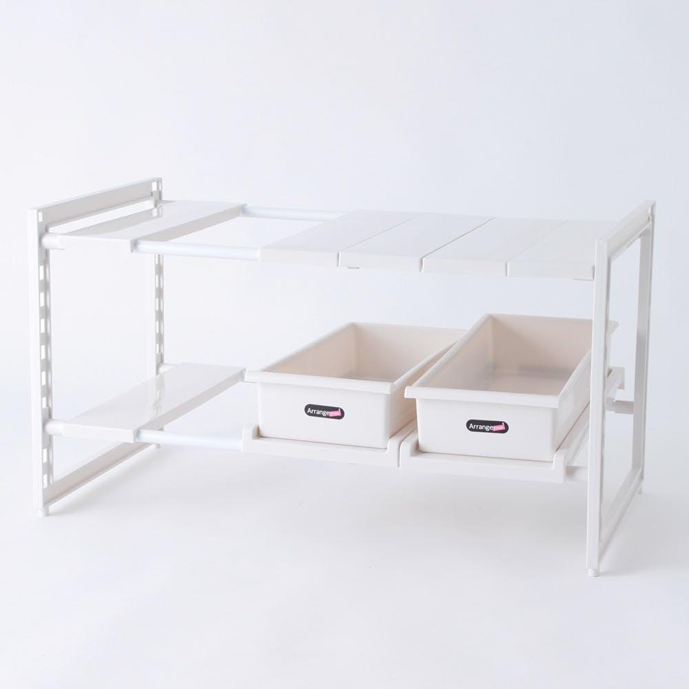 キッチン収納 スペースラック2段 ストッカー付 H5809, , product